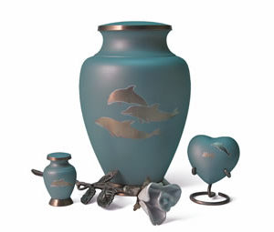 Aria Urn dolphin with rose