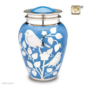Silver blessing birds large urn