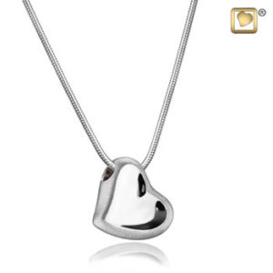 Leaning Heart (Silver-Two Tone) Ash Pendant