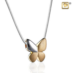 Butterfly (Silver-Gold-Two Tone) Ash Pendant