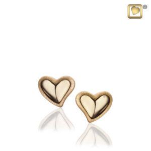 Leaning Heart (Gold-Two Tone) Earring