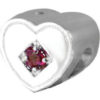 Heart Tribute Bead with 3mm created gem stone - 925 SS